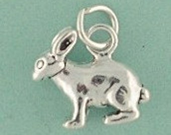 Bunny Rabbit Sterling Silver Charm -- Complimentary Ribbon or Cord