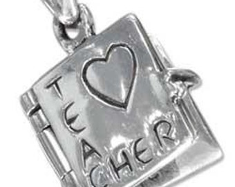 Heart Teacher Book Sterling Silver Pendant -- your choice of ribbon necklace or bracelet