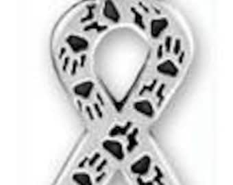 Paw Print Ribbon Awareness Sterling Silver Pendant -- Complimentary Ribbon or Cord