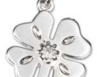 Four Leaf Clover with CZ Sterling Silver Charm -- Complimentary Ribbon or Cord