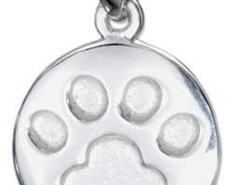 Round Paw Imprint Sterling Silver Pendant -- Complimentary Ribbon or Cord
