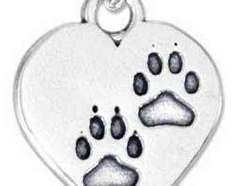 Heart with Paw Print Sterling Silver Charm -- Complimentary Ribbon or Cord