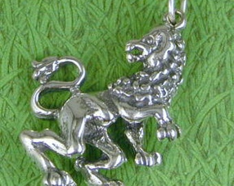 Leo Lion Sterling Silver Charm Pendant  -- Complimentary Ribbon or Cord