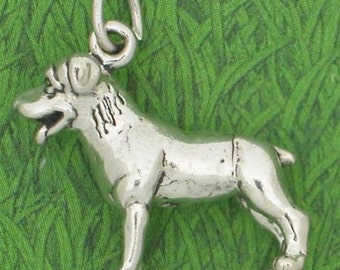 Standing Dog with Tongue Out Sterling Silver Charm -- Complimentary Ribbon or Cord