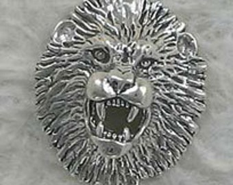 Wild Lion Head Sterling Silver Charm -- Complimentary RIbbon or Cord