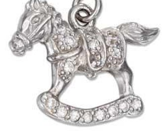 Rocking Horse with Pave CZ's Sterling Silver Pendant -- Complimentary RIbbon or Cord