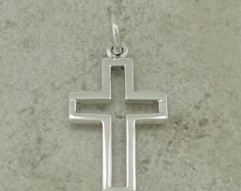 Open Cross Sterling Silver Pendant -- Complimentary Ribbon or Cord