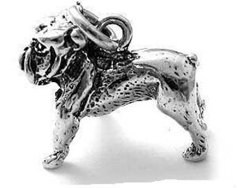 English Bull Dog Dog Sterling Silver Charm -- Complimentary Ribbon or Cord