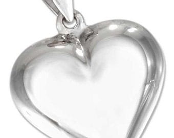 Puffed Sterling Silver Heart -- Complimentary Ribbon or Cord