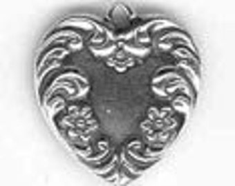 Heart Sterling Silver Charm -- Complimentary Ribbon or Cord