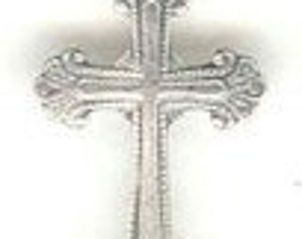 Cross Sterling Silver Charm -- Complimentary Ribbon or Cord