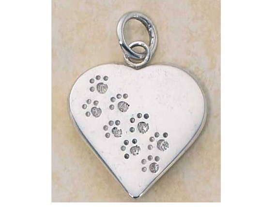Paw Print Heart Sterling Silver Charm -- Complimentary Ribbon or Cord