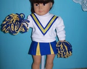 Reserved listing for momtoalyfrog Royal Blue, Yellow and  White Cheerleader Outfit