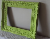 "Large Picture Photo Frame LIME Green Ornate Paris Chic Rococo Gesso Wedding Photo Prop Hollywood Regency 11"" x 14"" Inner, 17"" x 20"" Outer"