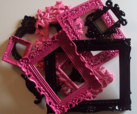 8 Picture Frames. Glamorous. Ornate Shabby Paris Chic Hot Pink Fuschia Black. Designer. Baroque. Wedding. Nursery. Teen. Gift. Wall Gallery.