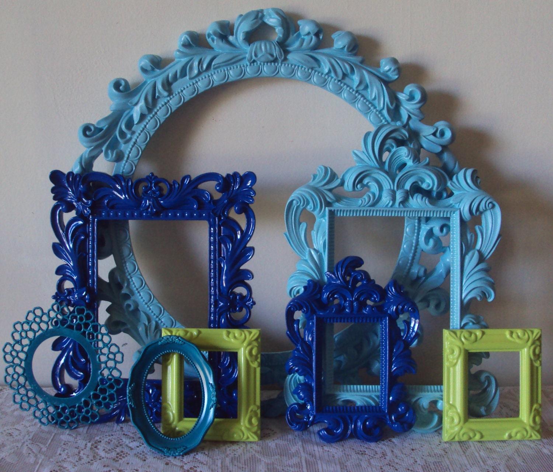 Mod Mermaid Set 8 Picture Frames Lime Green Aqua Cobalt Blue