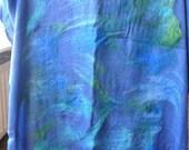 Huge nuno felted blue scarf