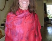Huge red nuno felted scarf