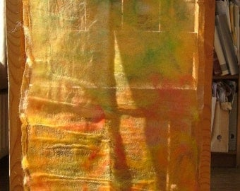 nuno felted golden/spring scarf
