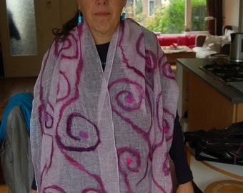 nunofelted purple scarf