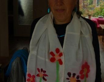 scarf with felt flowers