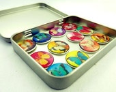 Butterfly Buttons.  Set of 12 butterflies in a decorated tin ready for gift giving.  Set Number 2.