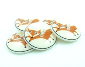 Fox Buttons.  Set of six handmade (by me).