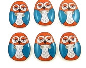 6 Turquoise and Orange Owl Buttons. Handmade Buttons. Resin sewing buttons.