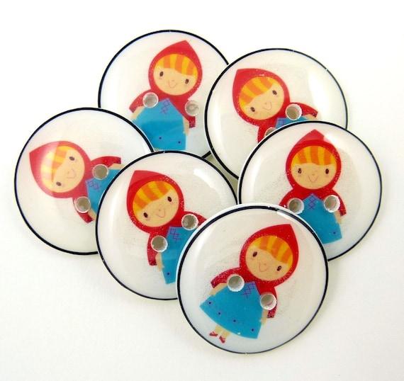 Red Riding Hood Buttons.  6 handmade buttons.  Children's buttons.