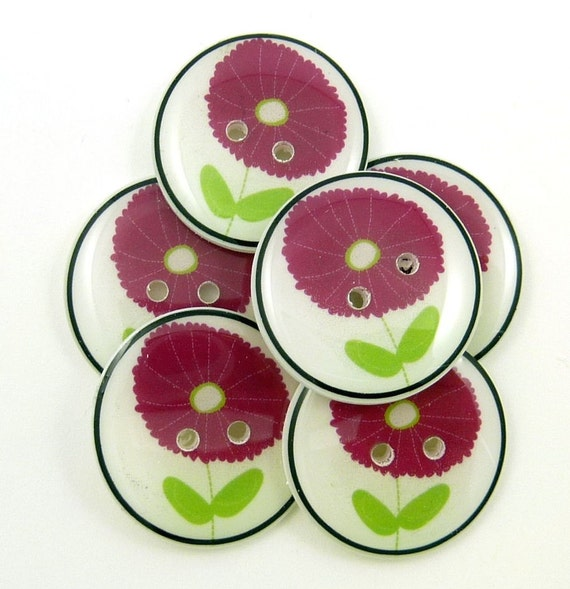 Handmade Buttons. 6 Plum or Purple Flower Buttons.  Sewing or Knitting Buttons.