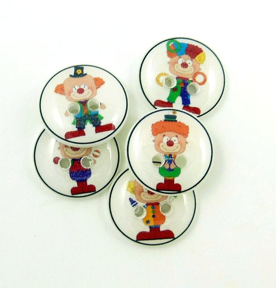 """Clown Buttons. SMALL Handmade Buttons.  Set of 5 sewing buttons. 5/8"""" OR 1.5 cm round."""