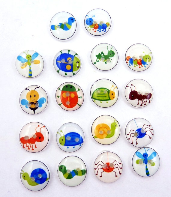 SMALL bug Buttons. 18 Handmade Buttons.  Sewing, knitting or needlecraft buttons.