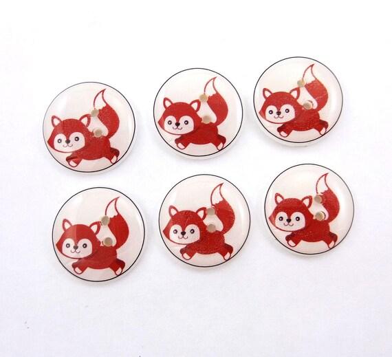 Buttons. Fox Buttons. 6 Handmade Buttons.