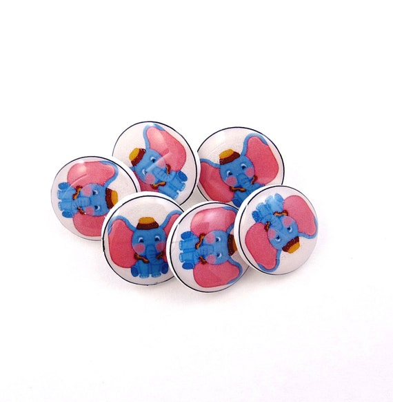 SMALL Dumbo Buttons. 6 Handmade Buttons. Shank Sewing Buttons.