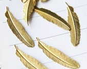 24  pcsRaw Brass Feather Charms/connectors -54mm M404-20