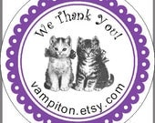 Kitten Stickers Thank You  Labels with your shop name 45
