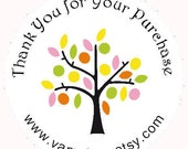 45 Tree Stickers Personalized Thank You  Round Labels with your shop name