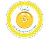 Yellow button Stickers Personalized