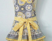 Womens Gray and Yellow Retro Full Apron / Floral Apron / Ruffles