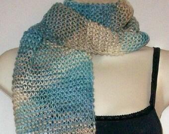 Aqua and Beige Argyle Hand Knit Scarf