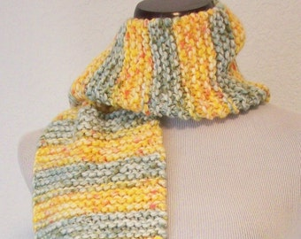 Hand Knit Scarf / Chunky Yellow and Green Stripes