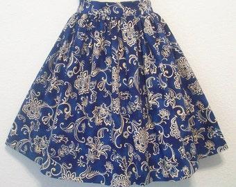 "Royal Blue Gathered Skirt, Damask, Womens Full Retro Skirt, Waist 29"", Eclectasie"