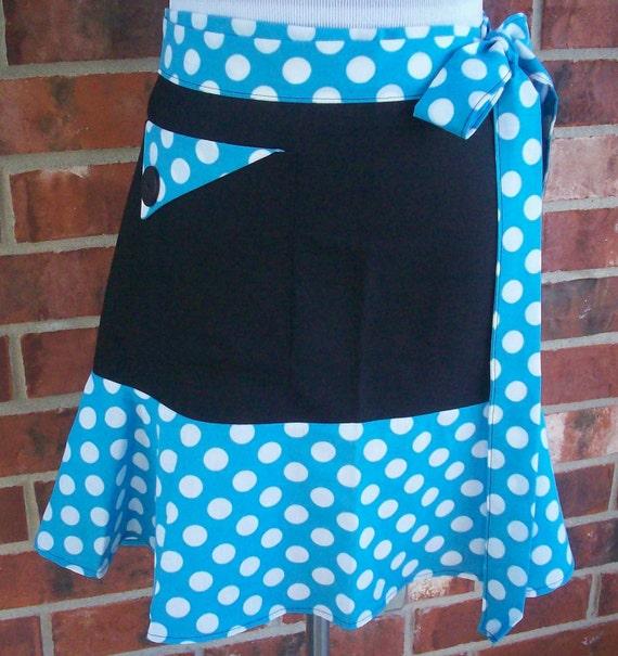 Vintage Style Retro Polka Dot Half Apron, Black Turquoise