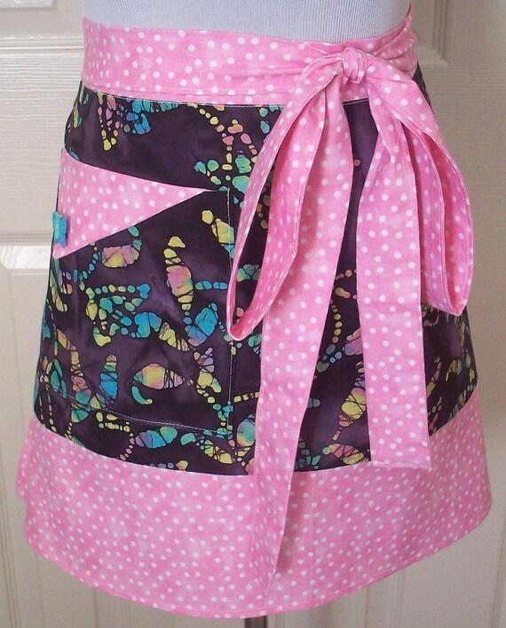 Retro Half Apron, Purple Butterfly Batik, Pink Polka Dot