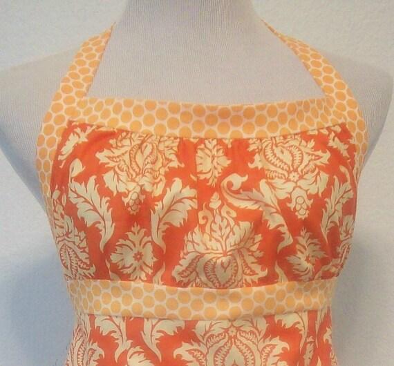 Orange Damask Halter Apron / Polka Dot / Fleur de Lis