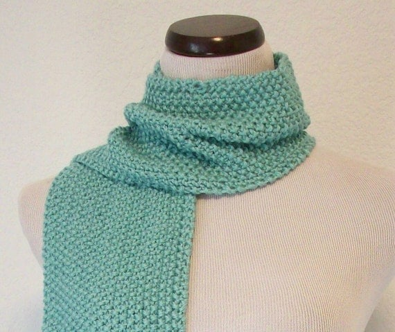 Knit Scarf Pattern Seed Stitch : Hand Knit Scarf / Aqua Seed Stitch by Eclectasie on Etsy