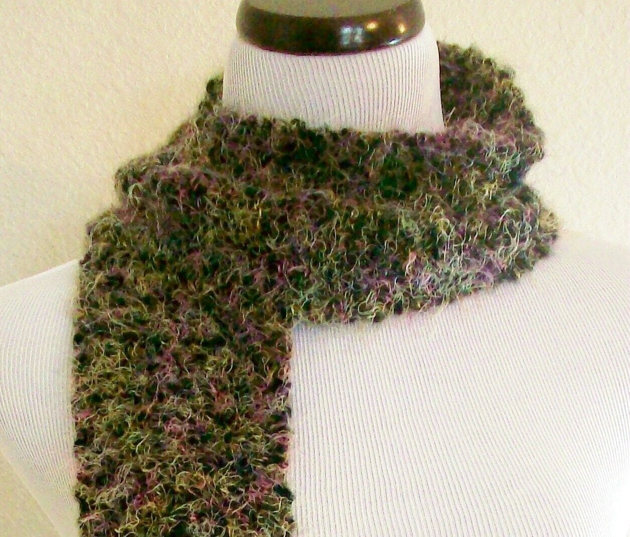 Multi Colored Scarf Knitting Pattern : Black and Multi-Colored Knit Scarf by Eclectasie on Etsy