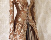 WAS 299 Caramel swirl steel boned bustle corset coat, valkyrie lace front corset-to fit 32-34 inch natural waist
