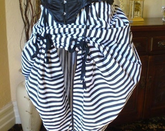 Black and White Circus Bustle Skirt-One Size Fits All