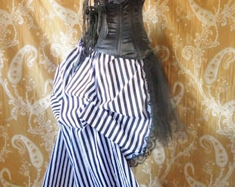 Cabaret Circus Stripe Tie On Super Long Bustle Skirt-One Size Fits All